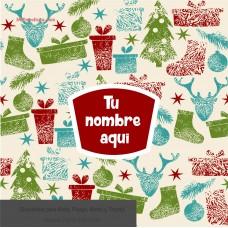 Navidad envoltura fondo  beige con iconos de colores