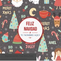 Navidad envoltura fondo gris con dibujos colores