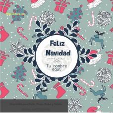 Navidad envoltura fondo azul con renos y pinos