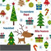Navidad envoltura fondo blanco de pinos y renos