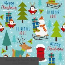 Navidad envoltura fondo  azul con figuras animalitos