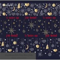 Navidad envoltura fondo azul estrellas doradas