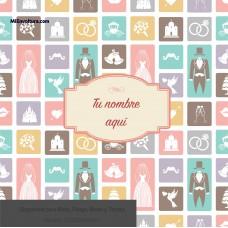 Envoltura  Social con diseño de iconos de novios boda